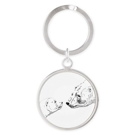 Polar Bear & Cub Round Keychain