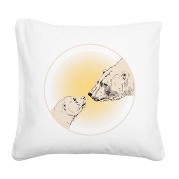 Polar Bear & Cub Square Canvas Pillow