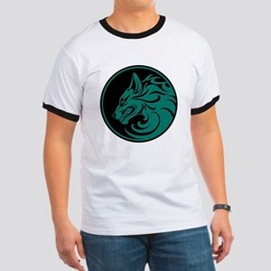 Growling Teal Blue and Black Wolf Circle T-Shirt
