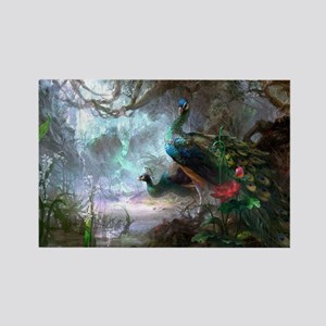 peacock art painting Rectangle Magnet