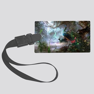 peacock art painting Large Luggage Tag