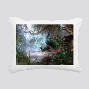 peacock art painting Rectangular Canvas Pillow