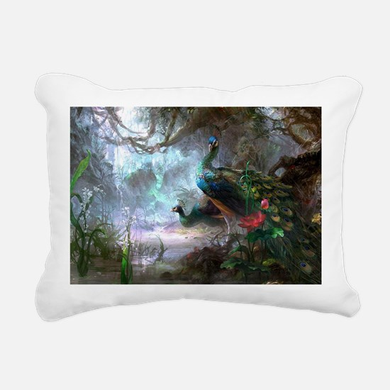 peacock art painting Rectangular Canvas Pillow