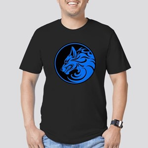Growling Blue and Black Wolf Circle T-Shirt