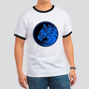 Growling Blue and Black Wolf Circle T-Shirt