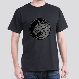 Growling Gray and Black Wolf Circle T-Shirt