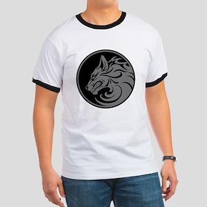 Growling Gray and Black Wolf Circle T-Shirt