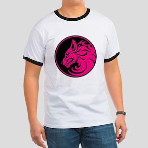 Growling Pink and Black Wolf Circle T-Shirt