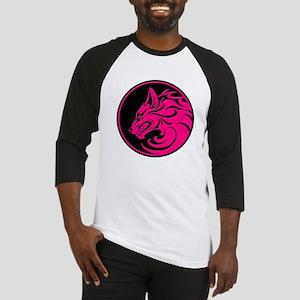 Growling Pink and Black Wolf Circle Baseball Jerse