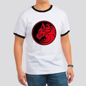 Growling Red and Black Wolf Circle T-Shirt