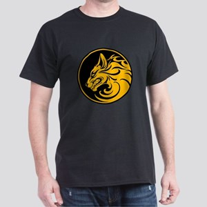 Growling Yellow and Black Wolf Circle T-Shirt