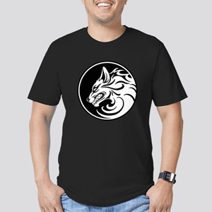 Growling White and Black Wolf Circle T-Shirt