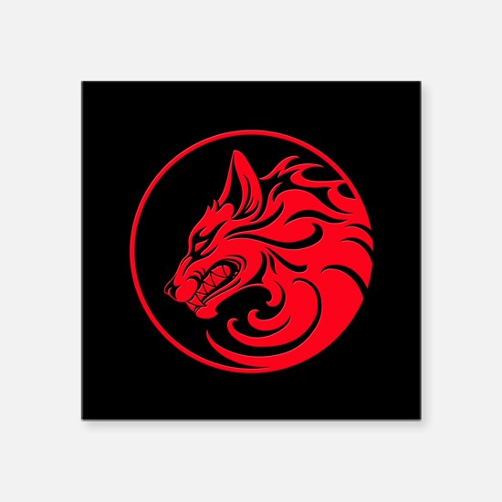 Growling Red and Black Wolf Circle Sticker