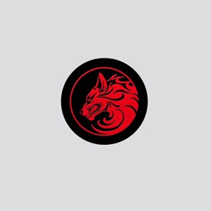 Growling Red and Black Wolf Circle Mini Button