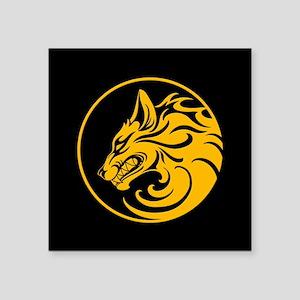 Growling Yellow and Black Wolf Circle Sticker