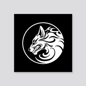 Growling White and Black Wolf Circle Sticker