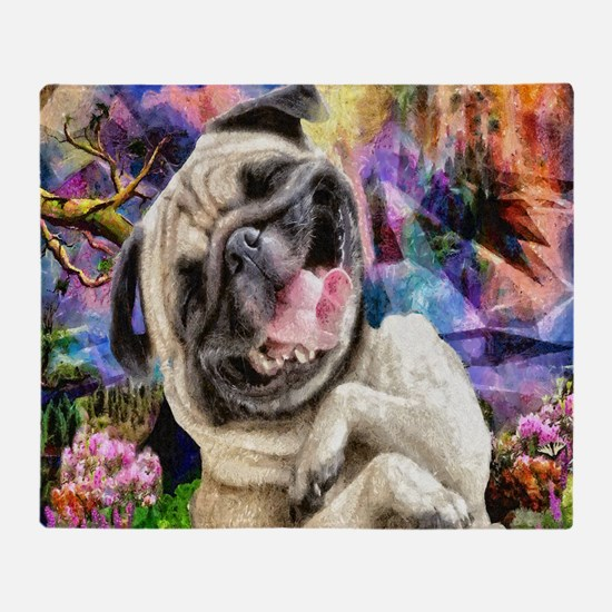 Happy Pug Throw Blanket