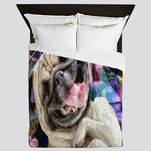 Happy Pug Queen Duvet