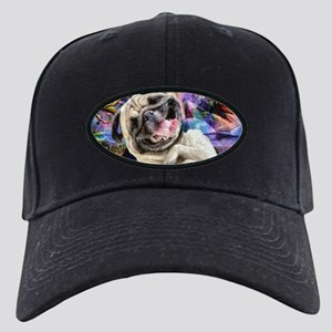 Happy Pug Black Cap with Patch