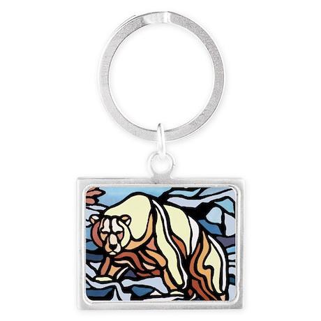 Native Polar Bear Art Landscape Keychain