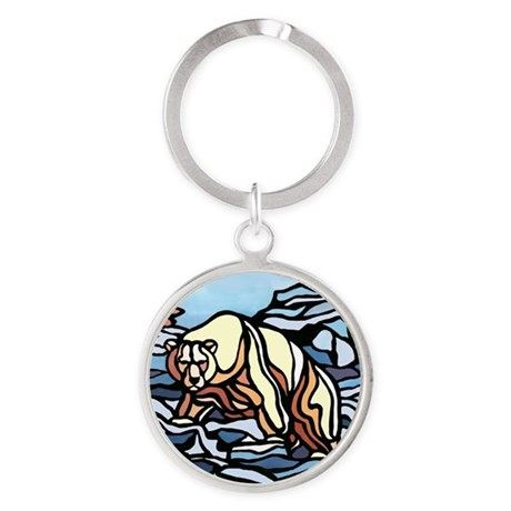 Native Polar Bear Art Round Keychain