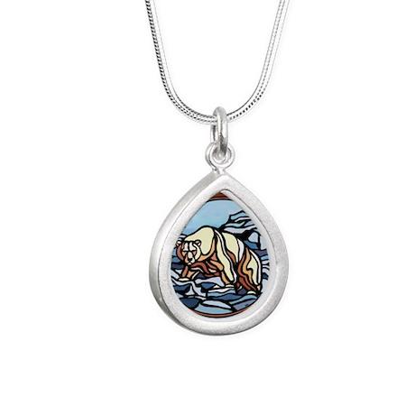 Native Polar Bear Art Silver Teardrop Necklaces