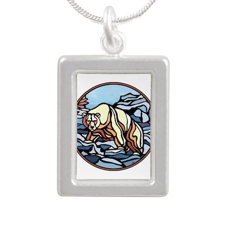 Native Polar Bear Art Silver Portrait Necklaces