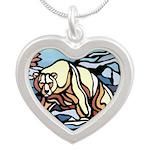 Native Polar Bear Art Silver Heart Necklace