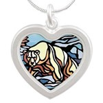 Native Polar Bear Art Silver Heart Necklace