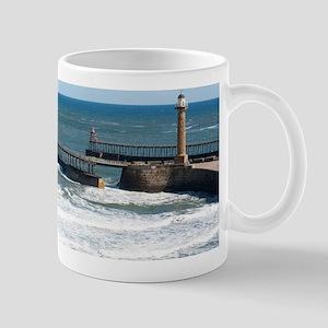 Whitby harbour outer breakwater Mug