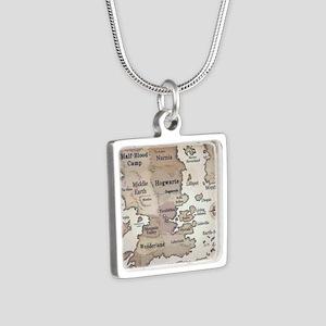 Fantasy World Map Silver Square Necklace