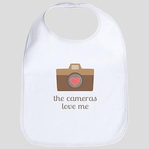the cameras love me, self confidence text Bib