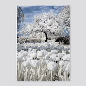 Tree in Tulip Field 5'x7'Area Rug