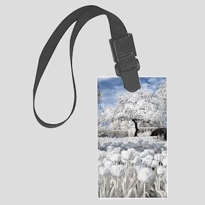 Tree in Tulip Field Luggage Tag