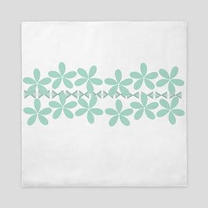Pastel Mint Floral Queen Duvet