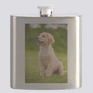 Happy Golden Puppy Flask