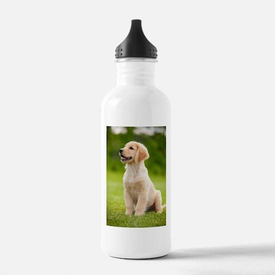Happy Golden Puppy Water Bottle