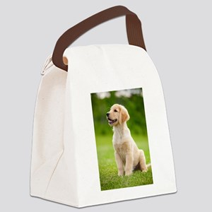 Happy Golden Puppy Canvas Lunch Bag