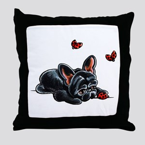 Black Frenchie Ladybug Throw Pillow