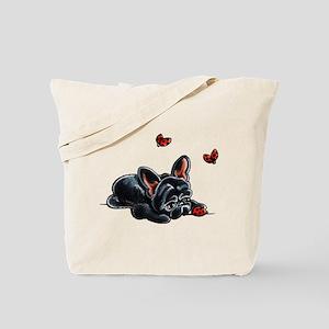 Black Frenchie Ladybug Tote Bag