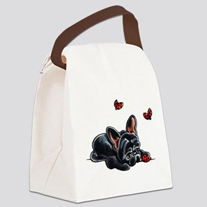 Black Frenchie Ladybug Canvas Lunch Bag