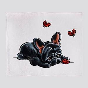 Black Frenchie Ladybug Throw Blanket
