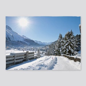 Winter in St. Moritz 5'x7'Area Rug