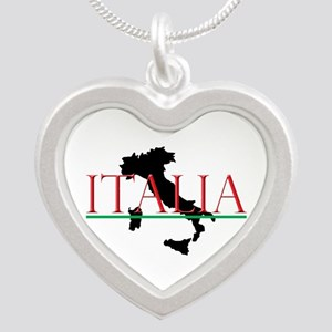 Italia: Italian Boot Silver Heart Necklace