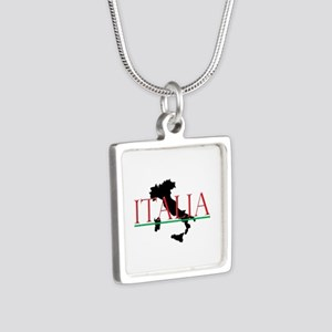 Italia: Italian Boot Silver Square Necklace