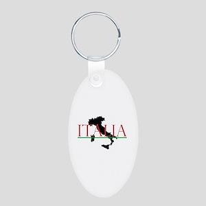 Italia: Italian Boot Aluminum Oval Keychain