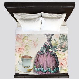 marie antoinette paris floral tea party King Duvet