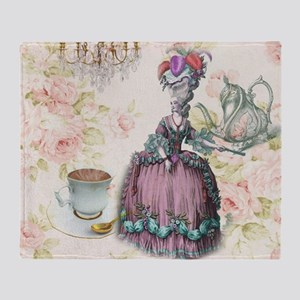 marie antoinette paris floral tea party Throw Blan