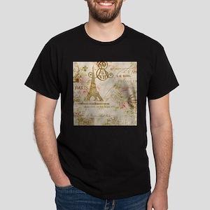 elegant paris Eiffel tower floral art T-Shirt