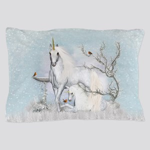 Winter Robins And Unicorns Pillow Case